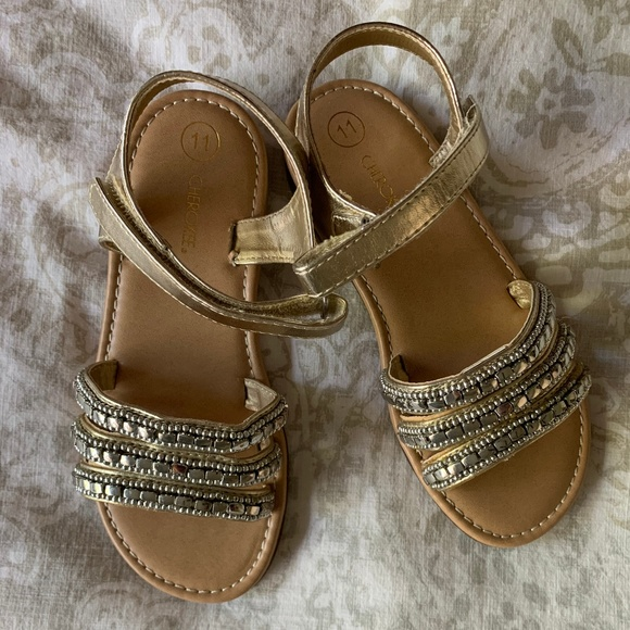 Cherokee Other - Girls Cherokee Beaded Sandals - Gold